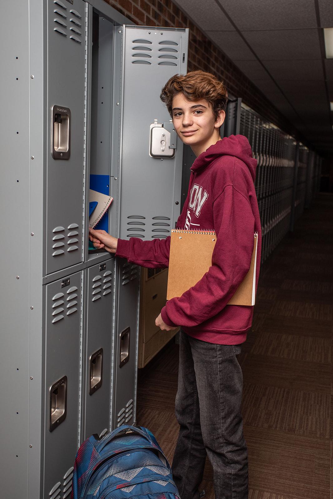 High School Boy at Locker