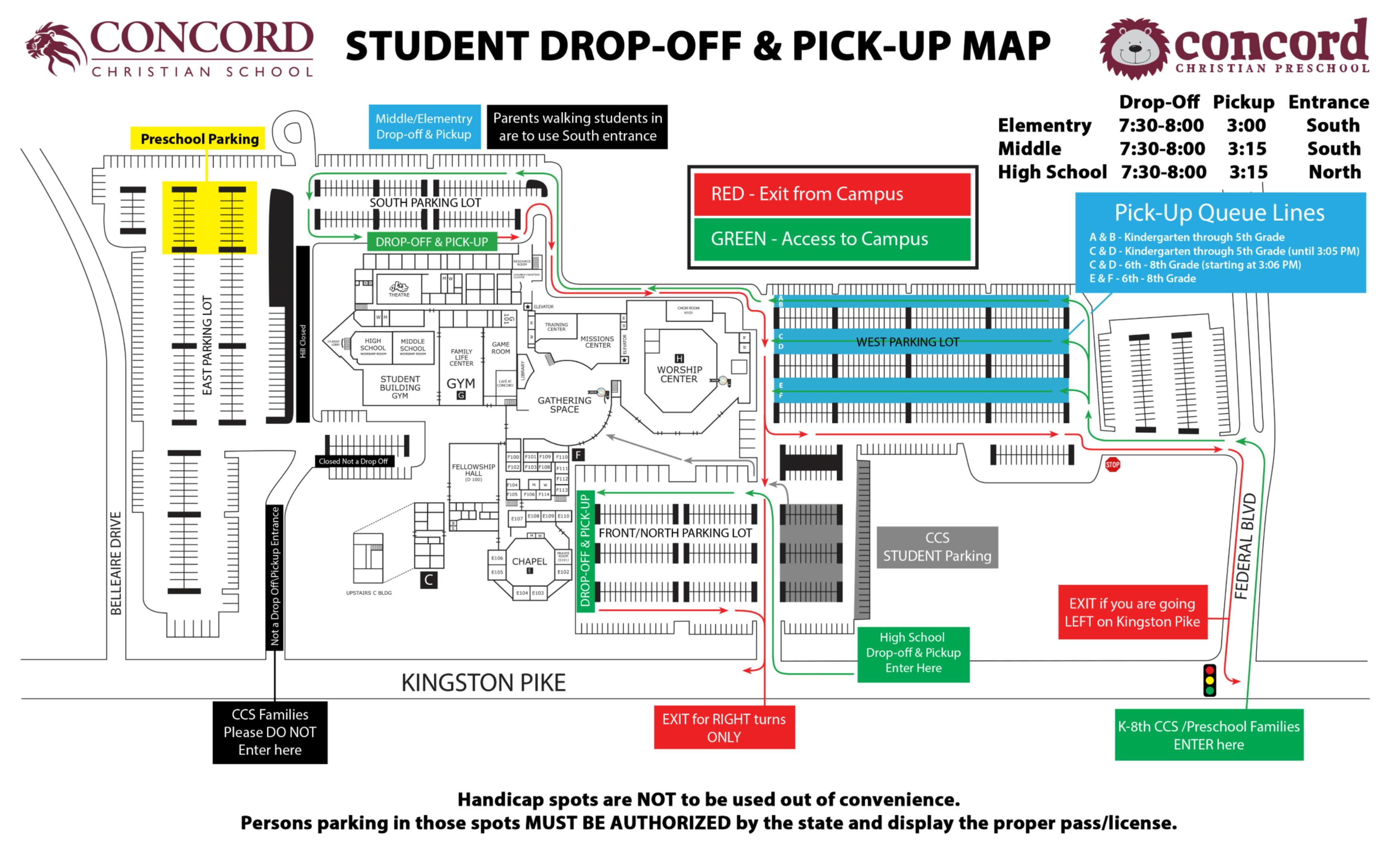 concord campus map Campus Map Concord Christian School concord campus map